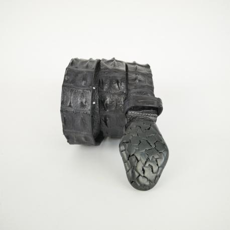 CEINTURE 3.5 CM CROCODILE BOUCLE PATCH 0822BLACK