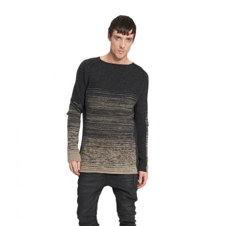Pull_tie & die_rayé_gris_beige_M27A01_Masnada_homme_vêtement_mode_boutique_strasbourg_france
