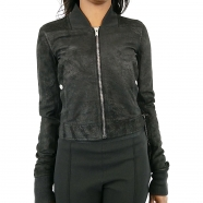 Blouson cuir blister col maille