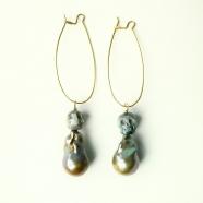 Boucles d'oreilles perles baroques et têtes skull