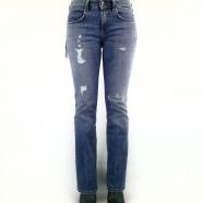Jeans bootcut cropped délavé déchiré surpiqué
