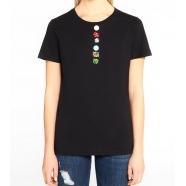 T-shirt multi boutons sous encolure manches courtes
