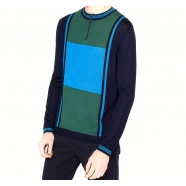Pull zippé bleu vert