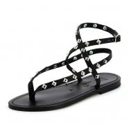 Sandales noires clous cuir Deltapyr