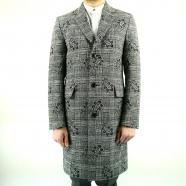Manteau prince de galle imprimé cachemire type redingote