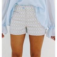 dondup-femme-Short tissé petites fleurs-boutique-www.algorithmelaloggia.com