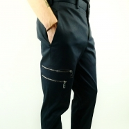 Pantalon multiples zips & bord-côtes bas