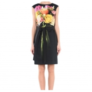 Robe coton stretch bouquet sans manche
