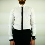 Chemise bande noire gorge & poignets