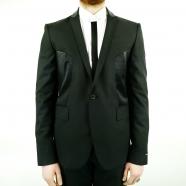 Veste costume bi matière cuir perforé