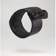 Bracelet cuir tête crapaud
