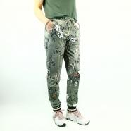 Pantalon imprimé fleurs & colibris bas jogging rayé Kimmy