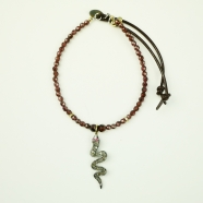 Bracelet grenat serpent diamants et rubis